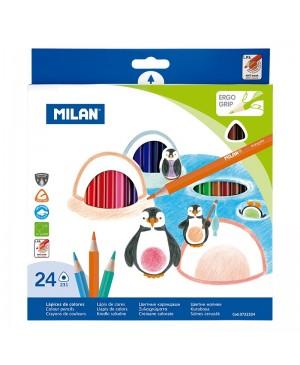Spalvoti tribriauniai pieštukai Milan 24 spalvų