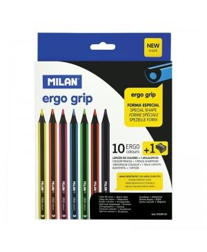 Spalvoti tribriauniai pieštukai Milan Ergo 10 spalvų