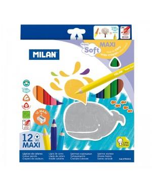 Spalvoti stori tribriauniai pieštukai Milan Maxi Super Soft 12 spalvų