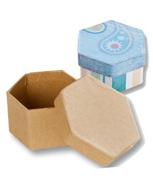 Kartoninė kraft šešiabriaunė dėžutė, 7,5 x 6,5 x 4 cm.