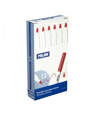 Rašikliai apvaliu galiuku Milan baltai magnetinei lentai, raudonos sp. 12 vnt
