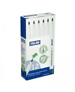 Rašikliai apvaliu galiuku Milan baltai magnetinei lentai, žalios sp. 12vnt