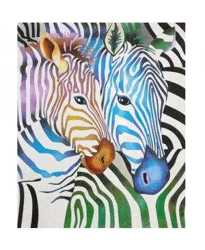 Eskizas smėlio tapybai Spalvoti zebrai 50x61cm