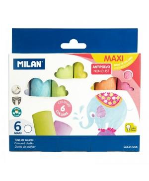 Spalvota stora apvali kreida Milan Non Dust MAXI 6 vnt