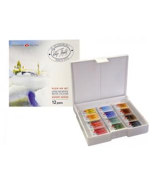 Akvarelinių dažų rinkinys Belye noči - Plein air plastikinėje dėžutėje, 12 spalvų