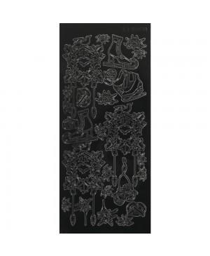 Lipdukai kontūriniai Alpine Christmas, 10x23cm, juodos sp.
