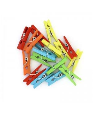 Mediniai segtukai, 25mm, 25vnt, įvairių spalvų