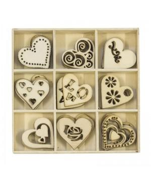 Mediniai dekoro elementai Širdelės, 45vnt