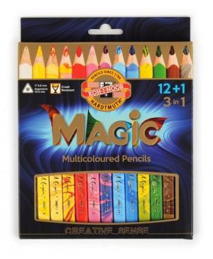 Pieštukai su įvairiaspalve šerdele MAGIC 3408 Koh-I-Noor, 12 spalvų + 1 pieštukas suliejimui