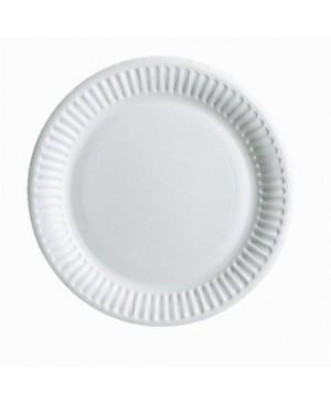 Vienkartinės popierinės lėkštės baltos sp. 23 cm skersmens, 100 vnt.