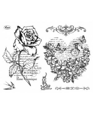 Silikoninių antspaudų rinkinys Rožė ir širdis 14x18cm