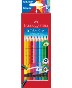 Spalvoti pieštukai 10 sp. Faber Castell Grip 2001, tribriauniai su trintuku