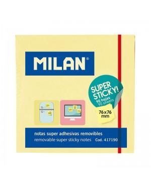 Lipnūs lapeliai užrašams Milan itin lipnūs, 76x76mm, 90l., gelsvos sp.