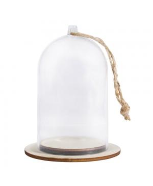Skaidrus gaubtas plastikinis su pagrindu, 6cm ø, 9cm aukščio