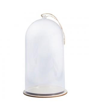 Skaidrus gaubtas plastikinis su pagrindu, 11cm ø, 19cm, aukščio
