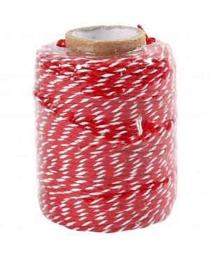 Virvelė medvilninė raudona/balta, 1.1mm, 50m