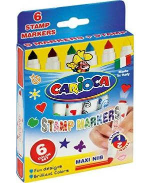 Flomasteriai Carioca Stamp, 6 sp. su antspaudais