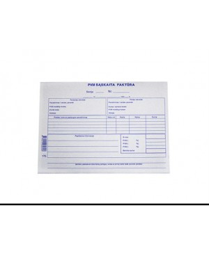 PVM sąskaita-faktūra be numeracijos A5, 50 kompl. po 2 lapus (savekopijuojanti)