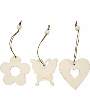 Ornamentas medinis - gėlytė / širdutė / drugelis, 1 vnt.