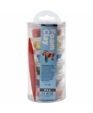 Burbulinis modelinas Foam Clay, rinkinys 6x14g, metalizuotos spalvos