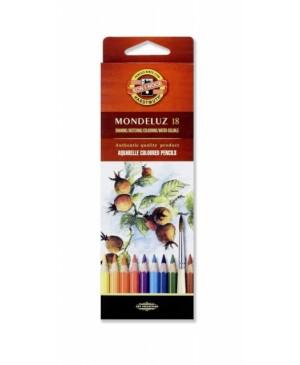 """Akvareliniai pieštukai """"Mondeluz"""" 18 spalvų"""