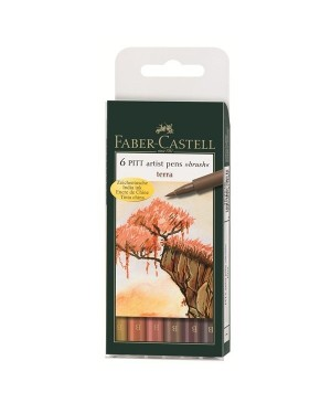 Rašikliai Faber-Castell PITT, teptukiniai, žemės tonai, 6 vnt., B