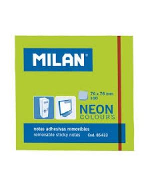 Lipnūs lapeliai užrašams Milan Neon, 76x76mm, 100l. žalios sp.
