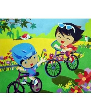 Eskizas smėlio tapybai Vaikai su dviračiais 50x61cm