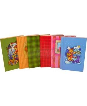 Užrašų knygelė langeliais A6, 60l. kietop kartono viršeliu įvairiais paveikslėliais
