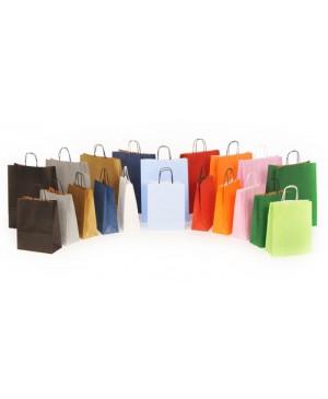 Popierinis maišelis Toptwist suktomis popierinėmis rankenėlėmis 19x8x21 cm. 80 g/m², juodas