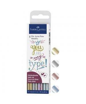 Rašikliai Faber-Castell PITT artist pen Metallic 4 spalvų