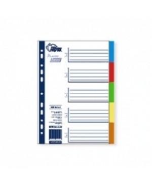 Skiriamieji lapai Forpus, 1-5, A4, plastikiniai, spalvoti