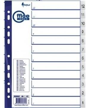 Skiriamieji lapai Forpus, 12-1, A4, plastikiniai