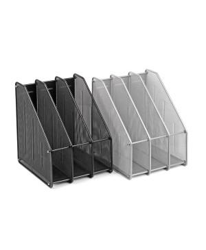 Vertikalus dokumentų dėklas 3 skyrių sidabro spalvos perforuoto metalo