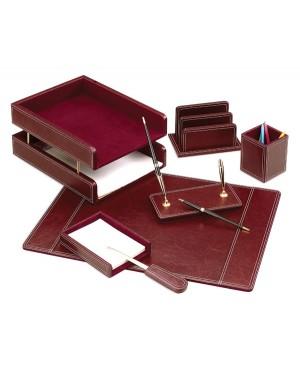 Darbo stalo priemonių rinkinys Forpus, tamsiai raudonos odos,7 dalys