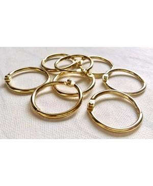 Žiedai lapams susegti 25mm diametro, 4 vnt. aukso sp.