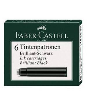 Rašalo kapsulės Faber-Castell, 6 vnt, juodos