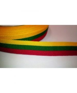 Ripsinė juostelė Lietuvos vėliavos spalvų 1cm pločio, 1 metras