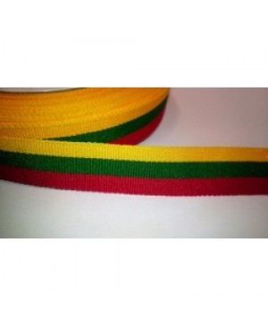 Ripsinė juostelė Lietuvos vėliavos spalvų 3 cm pločio, 1 metras