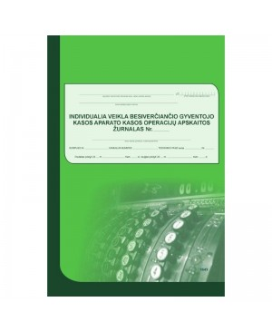Individualia veikla besiverčiančio gyventojo kasos operacijų žurnalas vertikalus A4, 73 l.