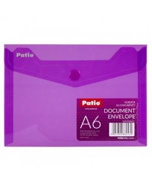 Plastikinis skaidrus vokas su spaustuku Patio, A6 violetinis