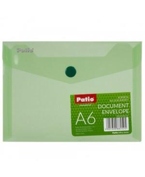 Plastikinis skaidrus vokas su spaustuku Patio, A6 žalias
