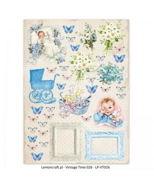 Skrebinimo popierius Lullaby - Vintage Time 026, A4, 250 g/m², 1vnt.