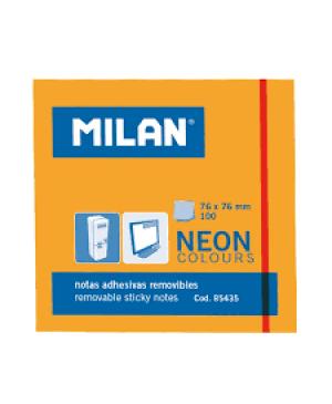 Lipnūs lapeliai užrašams Milan Neon, 76x76mm, 100l. oranžinės sp.