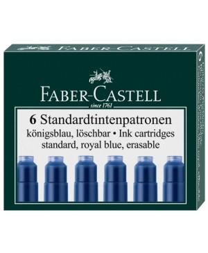 Rašalo kapsulės Faber-Castell, 6 vnt, mėlynos