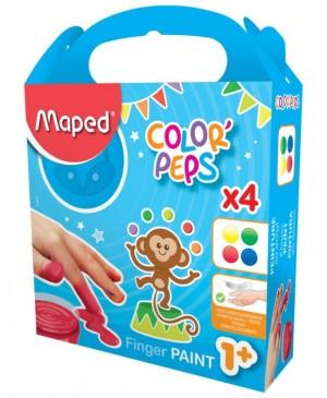 Pirštais kabinami dažai vaikams nuo 1 metų Maped Color Peps 4 spalvos po 80g