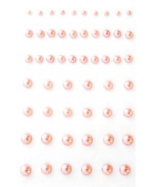 Perliukai lipnūs plastikiniai 3-7mm, 54vnt, rausvos sp.