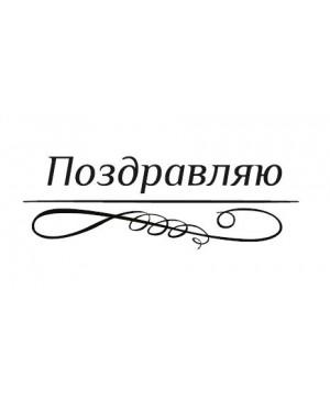 Silikono antspaudas rusų kalba - Pozdravliaju-1, 45x15mm