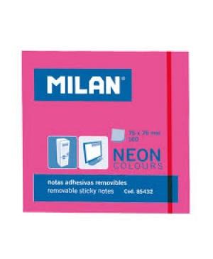 Lipnūs lapeliai užrašams Milan Neon, 76x76mm, 100l. rožinės sp.