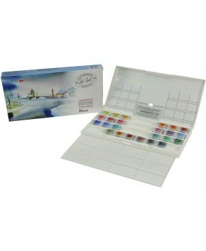 Akvarelinių dažų rinkinys Belye noči - Landscape, plastikinėje dėžutėje, 24 spalvų